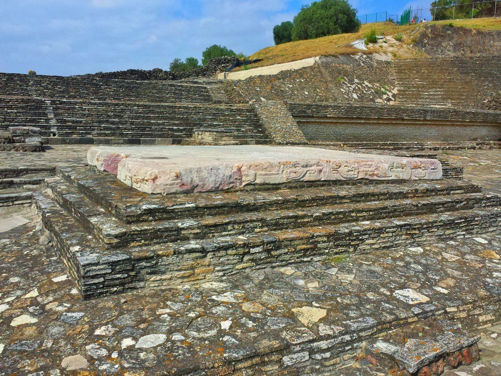 Pink stone slab altar