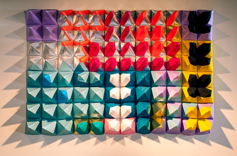 Polytopia colorful, geometric wall hanging 4' x 6' textile art by Magda Wojtyra