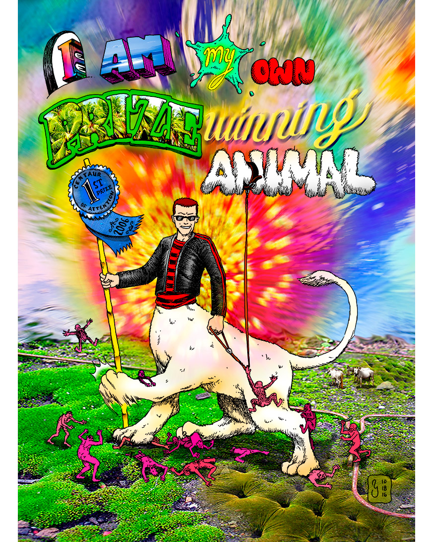 """Prize Winning Animal"" art by Marc Ngui, part of the Meme Swarm series of images."