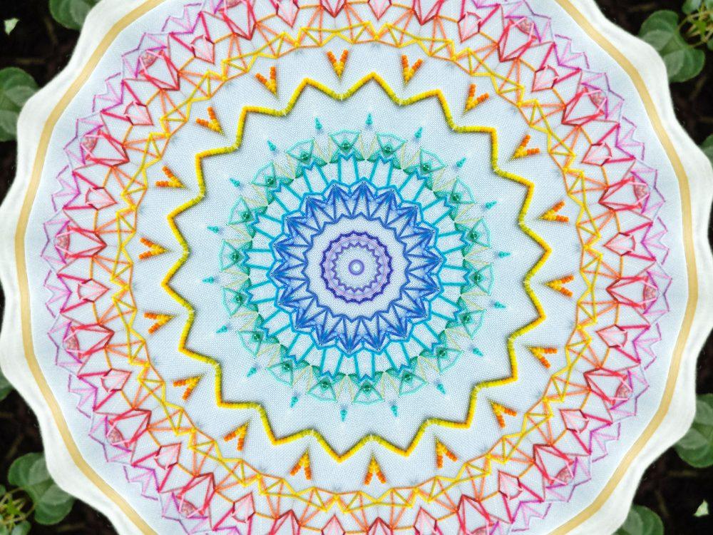 Rainbow embroidered mandala
