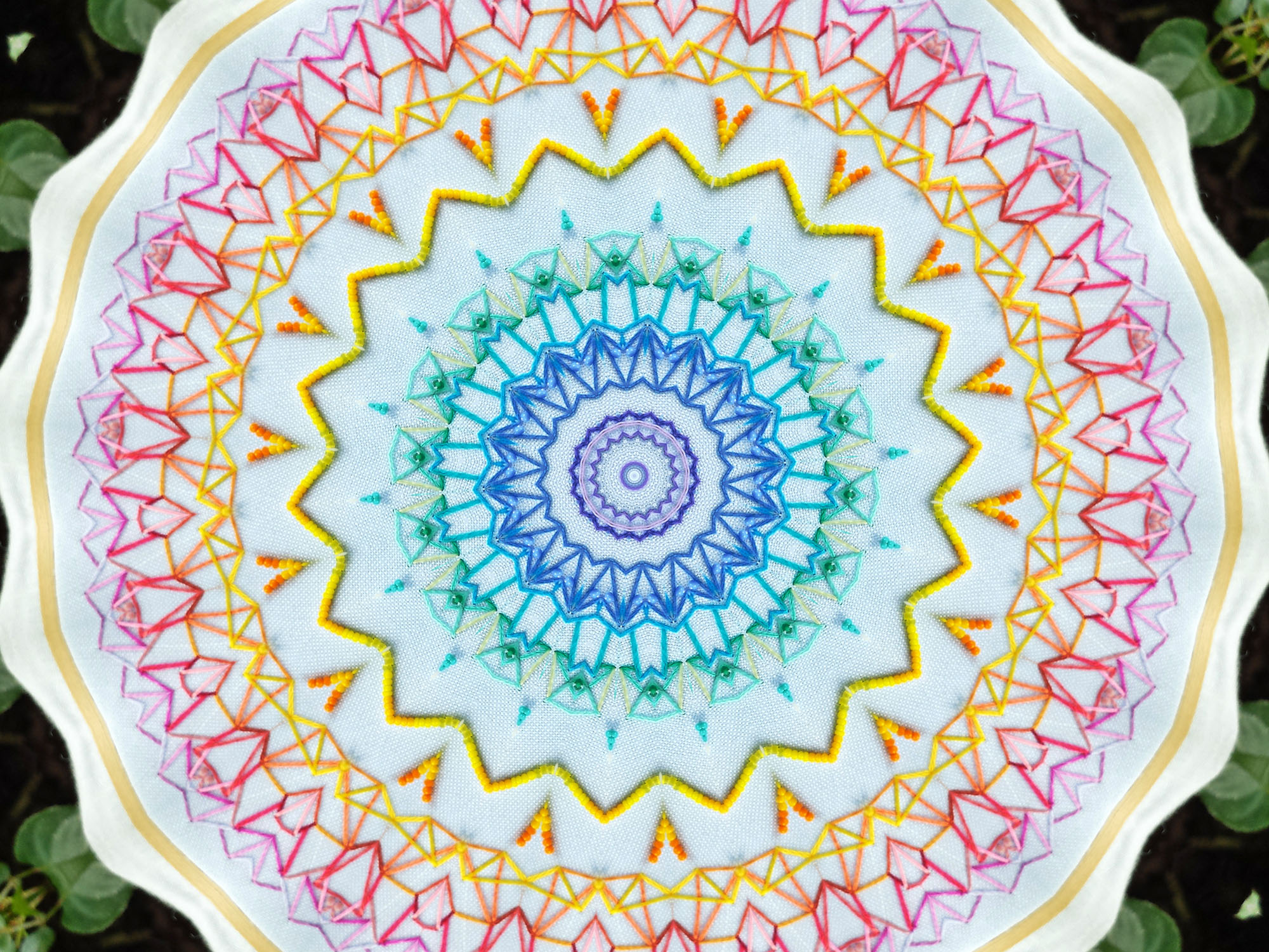Rainbow embroidered mandala