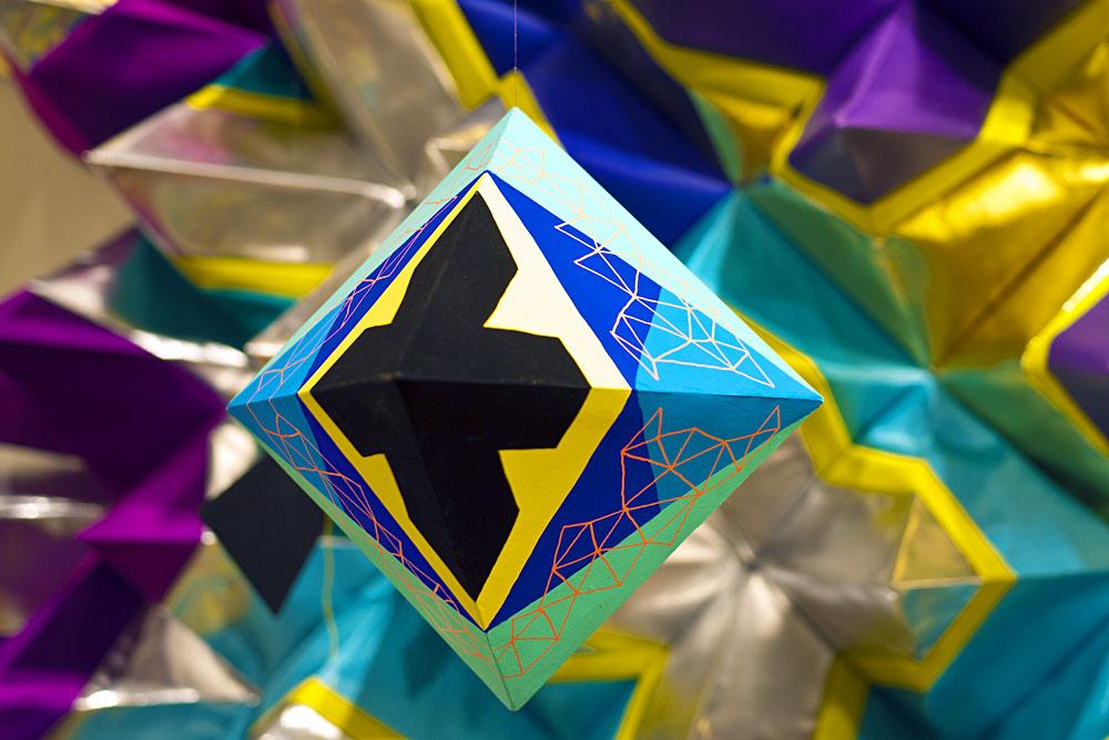 Blug and black geometric paper sculpture by Happy Sleepy aka Magda Wojtyra and Marc Ngui