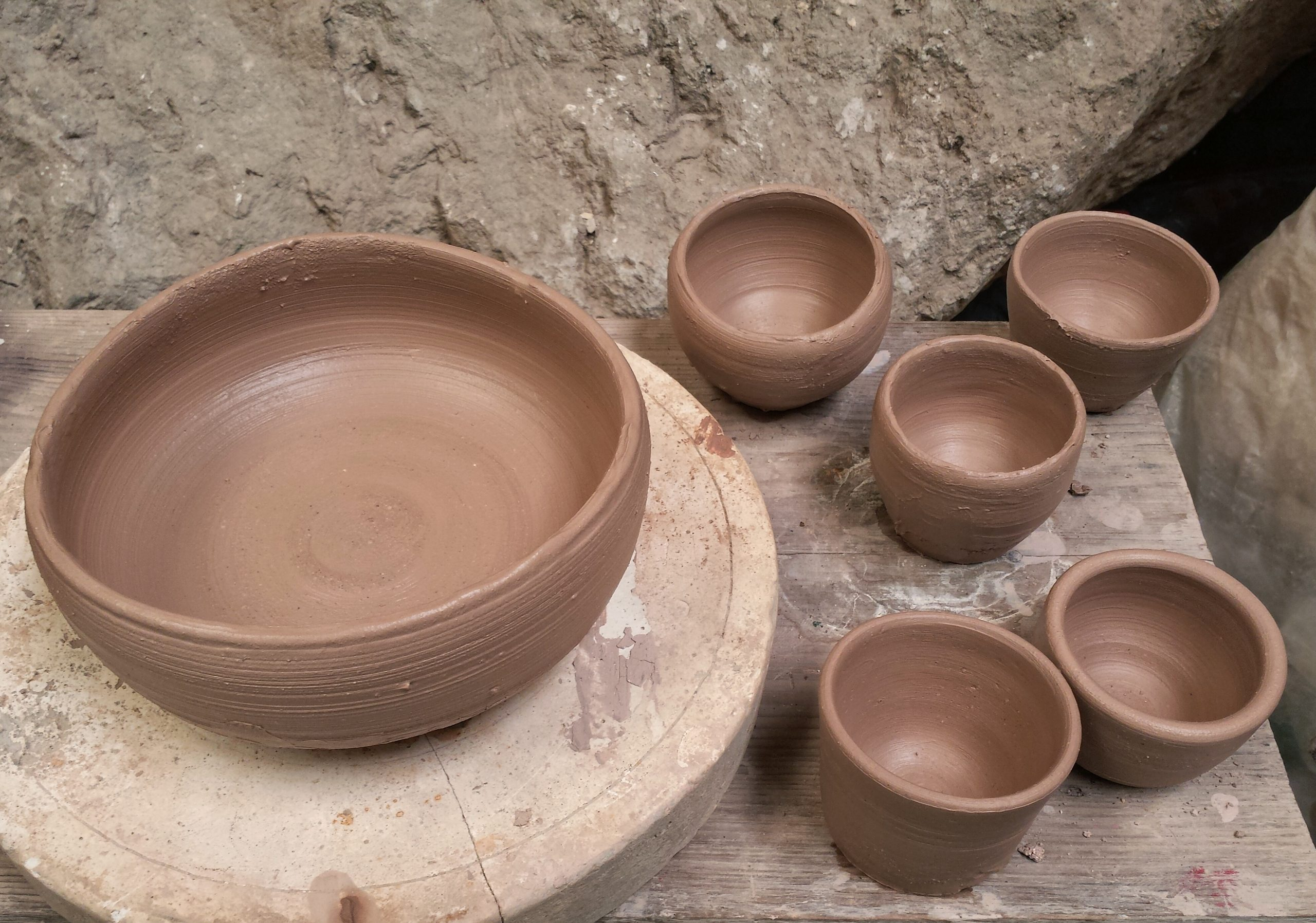Wet clay bowls