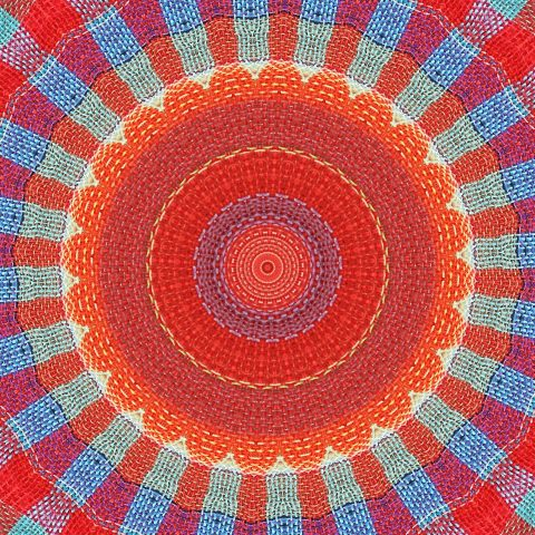 Red and blue radiating mandala