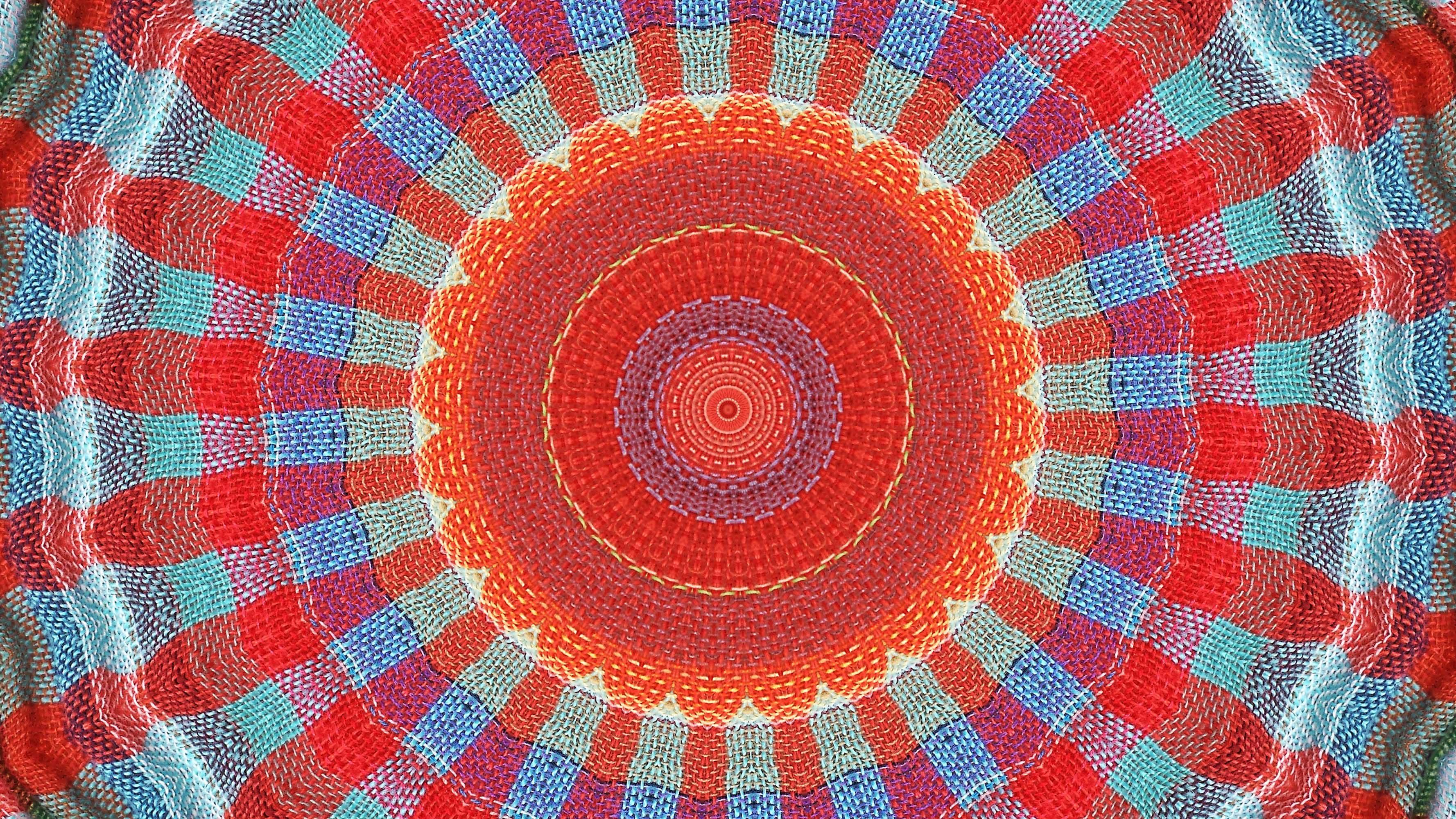 Red and blue radiating mandala