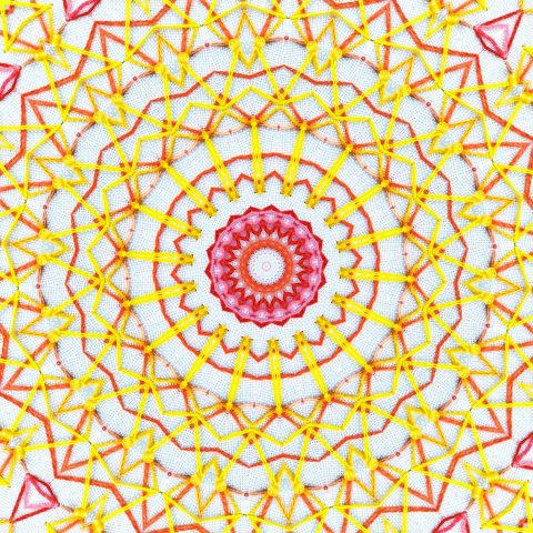 Yellow embroidered mandala