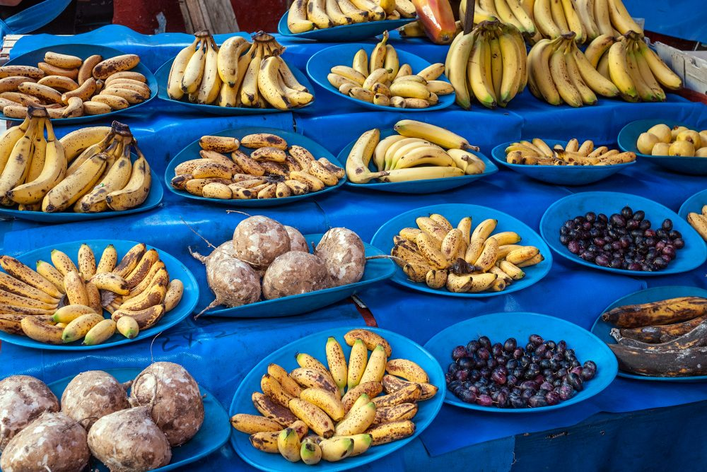 Yellow and blue fruit stand